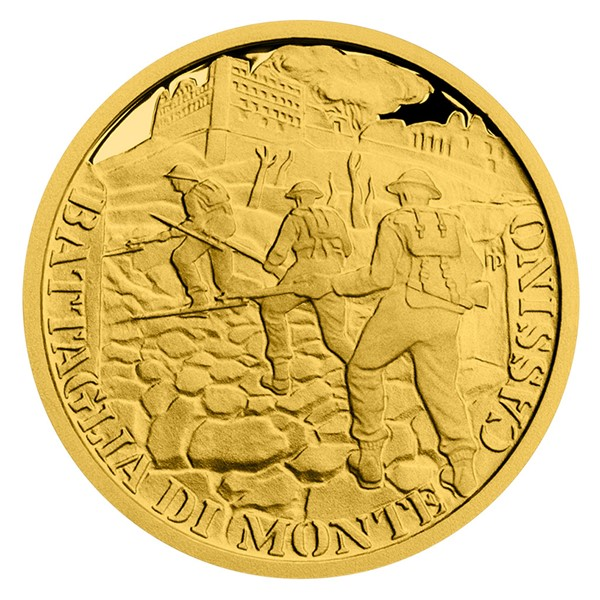 Zlatá mince Válečný rok 1944 - Bitva o Monte Cassino proof