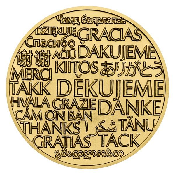 """Mosazná medaile """"Děkujeme"""" stand"""