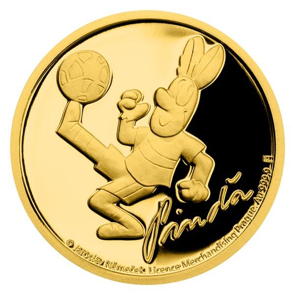 Zlatá mince Čtyřlístek - Pinďa proof