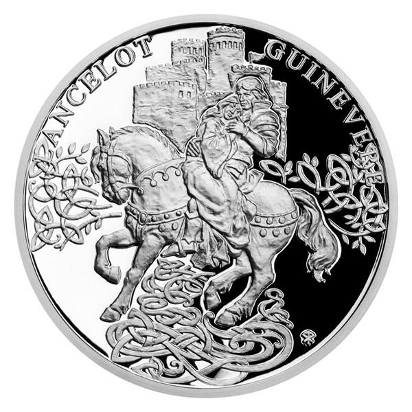 Stříbrná mince Legenda o králi Artušovi - Ginevra a Lancelot proof
