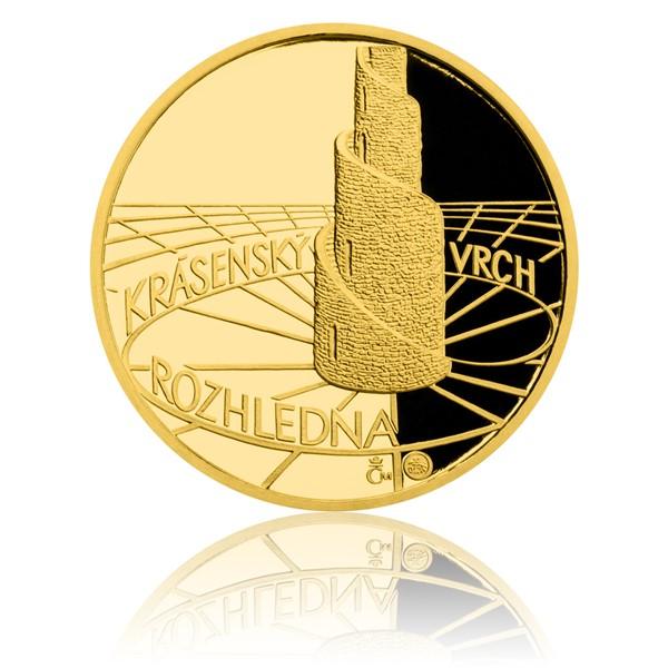 Zlatá čtvrtuncová medaile Rozhledna Krásenský vrch proof
