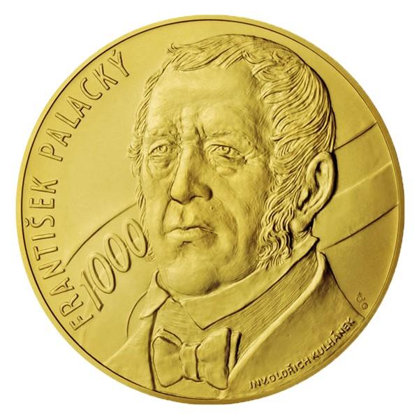 Zlatá kilová investiční medaile s motivem 1000 Kč bankovky František Palacký stand