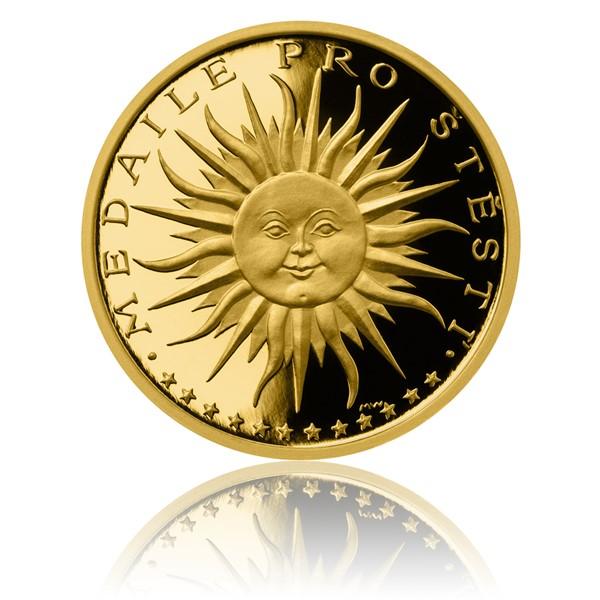 Zlatá medaile Štěstí s věnováním proof