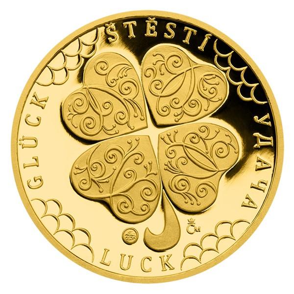 Zlatá čtvrtuncová medaile Čtyřlístek pro štěstí s věnováním proof