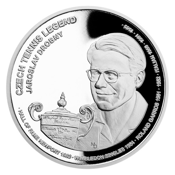 Stříbrná mince České tenisové legendy - Jaroslav Drobný proof