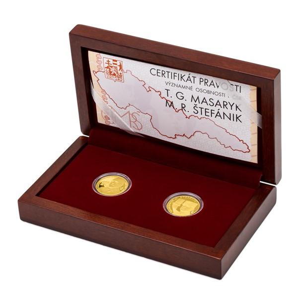 Sada dvou zlatých medailí T. G. Masaryk a M. R. Štefánik proof
