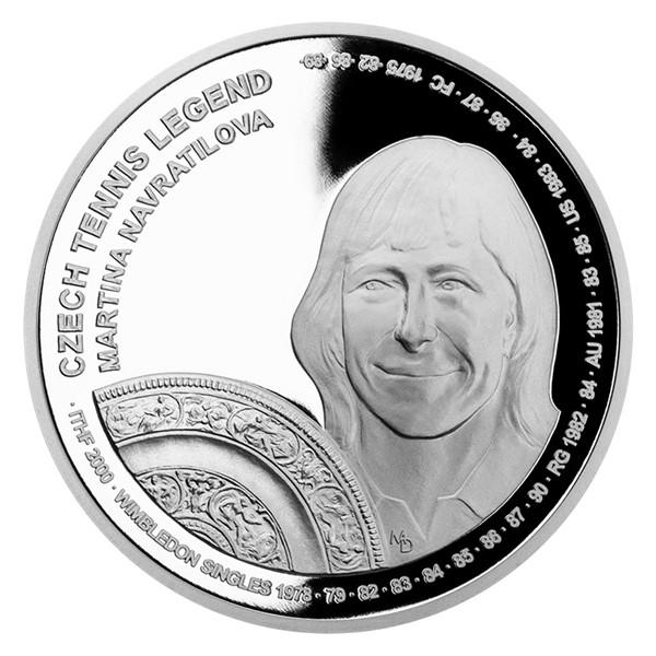 Stříbrná mince České tenisové legendy - Martina Navrátilová proof