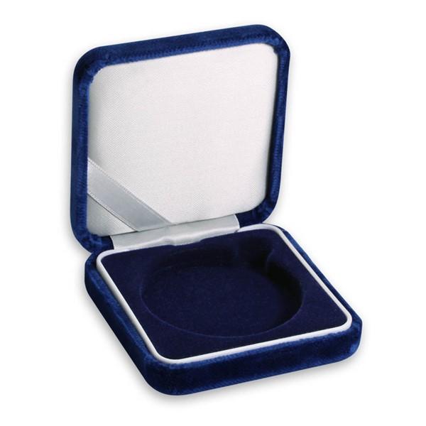 Sametová etue modrá 8x8 na průměr 57 mm