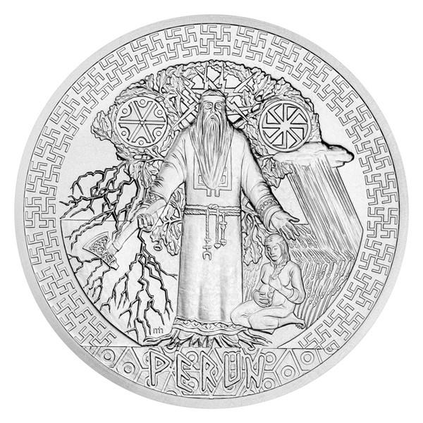 Stříbrná mince Bohové světa - Perun stand