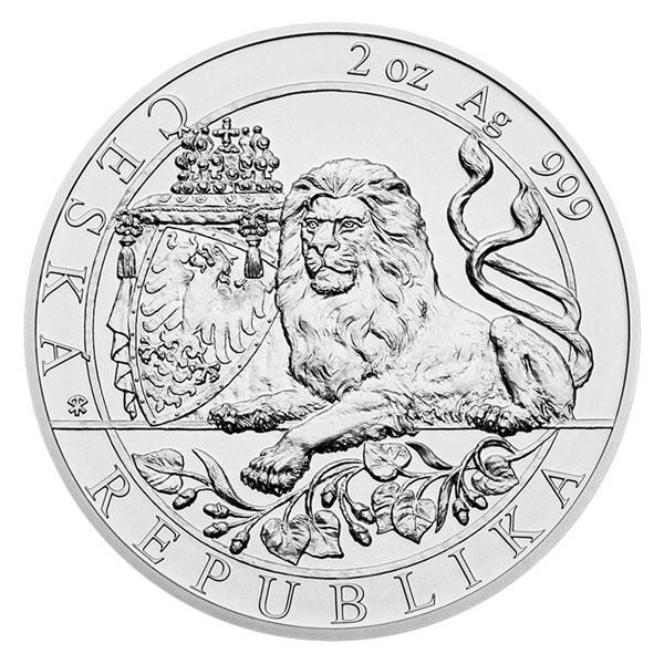 Stříbrná dvouuncová investiční mince Český lev 2019 stand