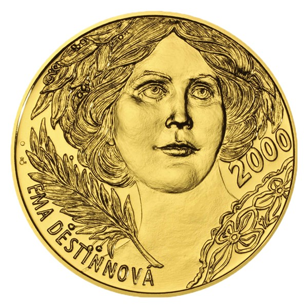 Zlatá kilogramová medaile s motivem 2000 Kč bankovky Ema Destinnová stand