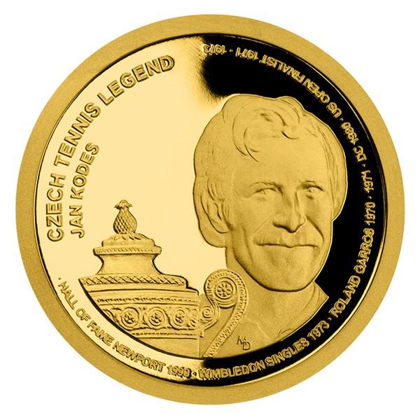 Zlatá čtvrtuncová mince České tenisové legendy - Jan Kodeš proof
