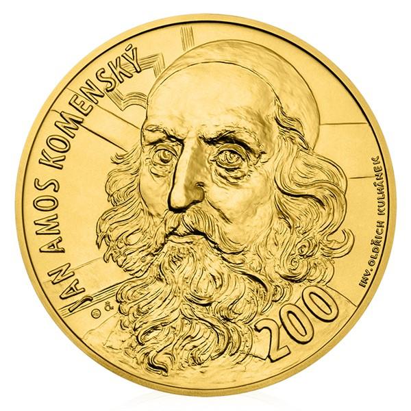 Zlatá sběratelská medaile s motivem 200 Kč bankovky J. A. Komenský stand