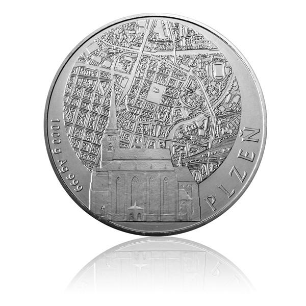 Stříbrná kilová investiční medaile Statutární města ČR - Plzeň stand