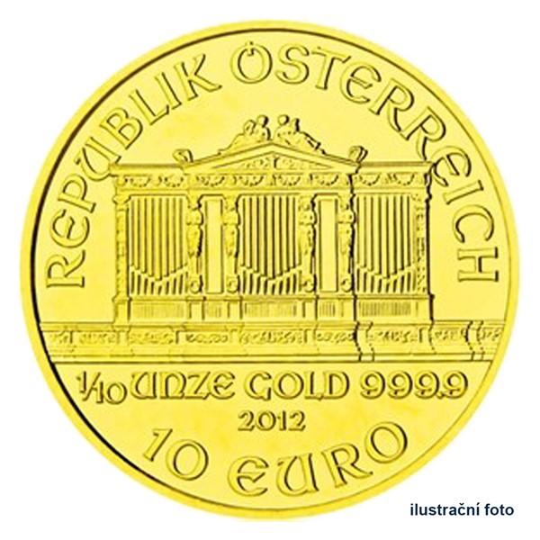 Zlatá investiční mince 1/10 Oz 10 EUR Wiener Philharmoniker stand