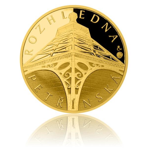 Zlatá čtvrtuncová medaile Petřínská rozhledna proof