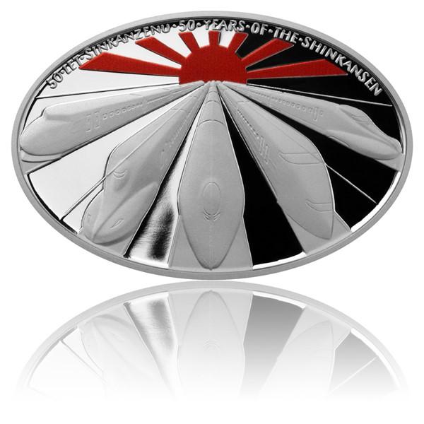 Stříbrná mince 50 let Šinkanzenu kolor proof