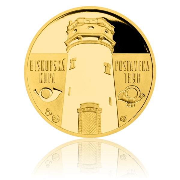 Zlatá čtvrtuncová medaile Rozhledna Biskupská kupa proof
