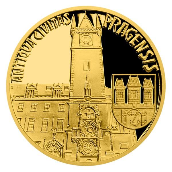 Zlatá čtvrtuncová mince Vznik královského hlavního města Praha - Staré Město pražské proof