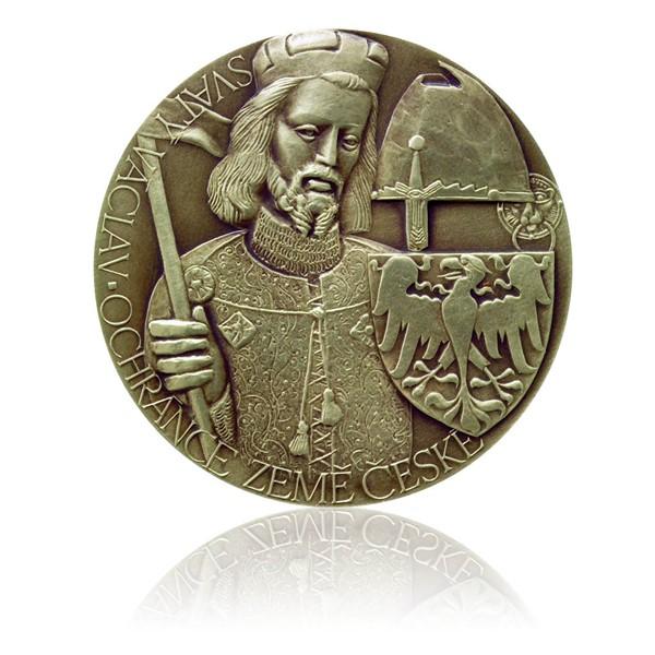 Mosazná medaile sv. Václav stand