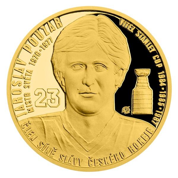 Zlatá čtvrtuncová mince Legendy čs. hokeje - Jaroslav Pouzar proof