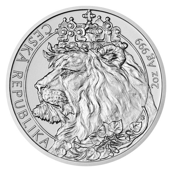 Stříbrná dvouuncová investiční mince Český lev 2021 stand