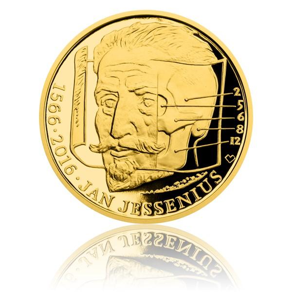 Zlatá půluncová medaile Jan Jessenius proof