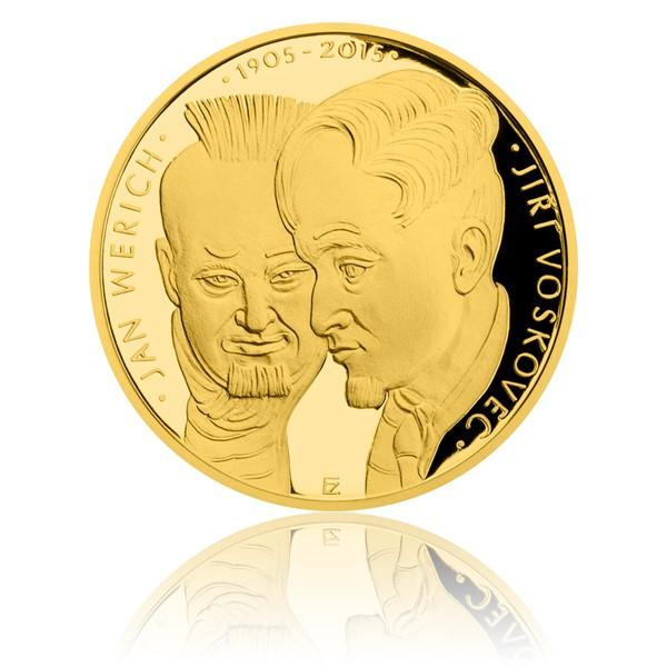 Zlatá dvouuncová mince Voskovec a Werich proof
