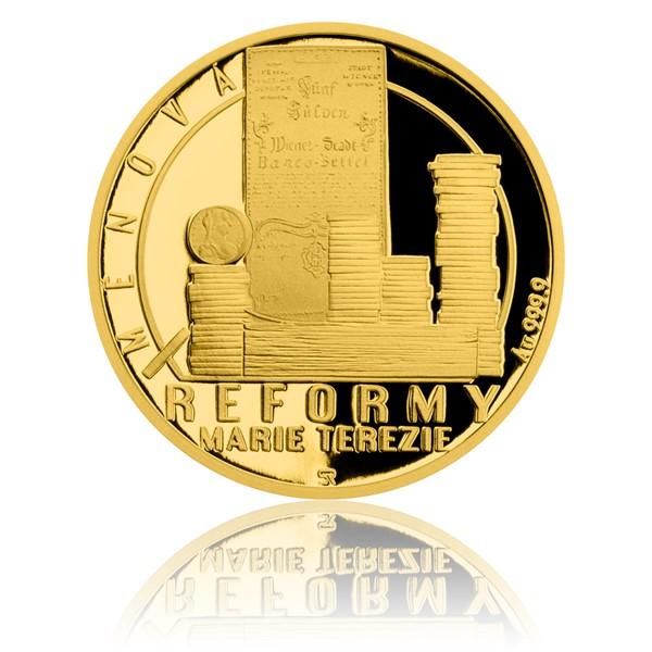 Zlatá čtvrtuncová mince Reformy Marie Terezie - měnová proof
