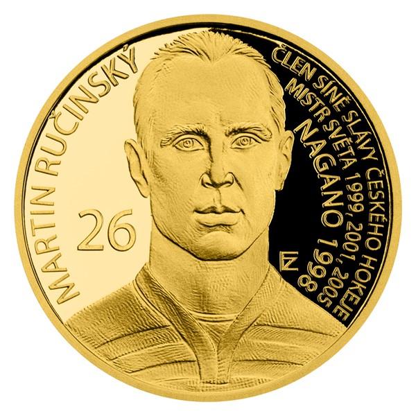 Zlatá čtvrtuncová mince Legendy čs. hokeje - Martin Ručinský proof