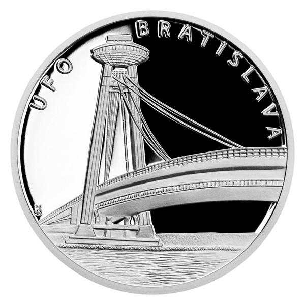 Stříbrná mince UFO - vyhlídková věž proof