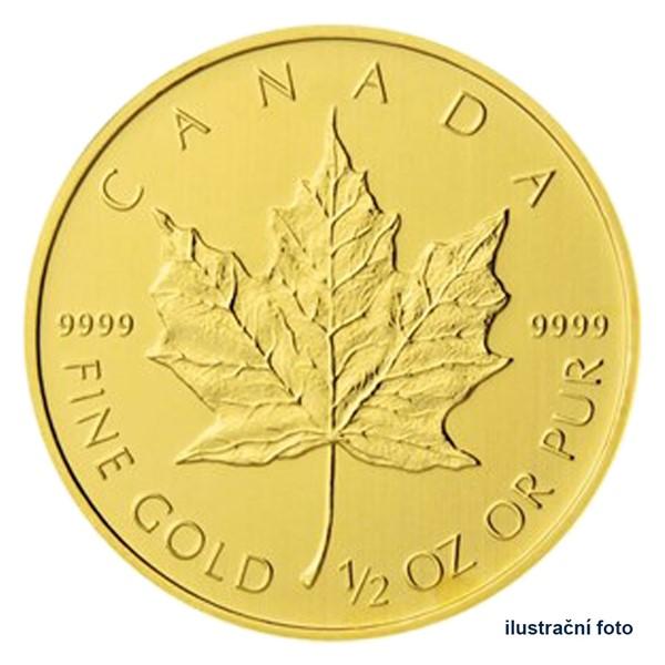 Zlatá investiční mince 1/2 Oz 20 CAD Maple Leaf stand