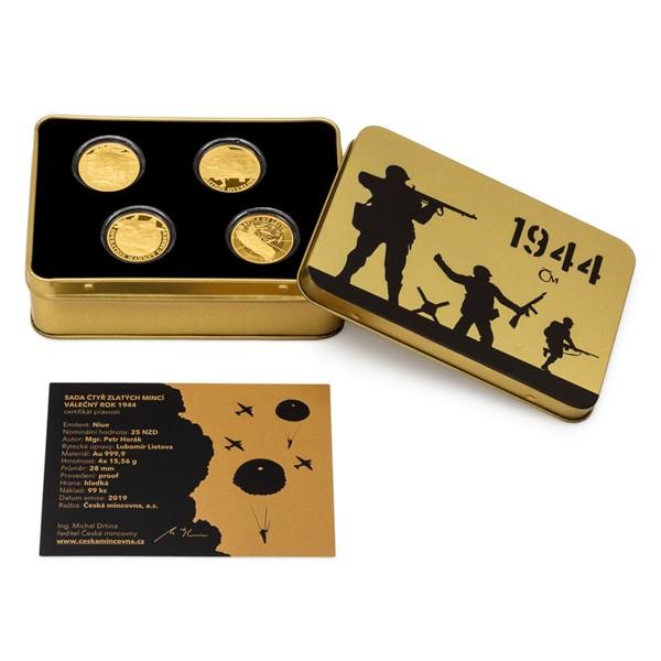 Sada čtyř zlatých mincí Válečný rok 1944 proof
