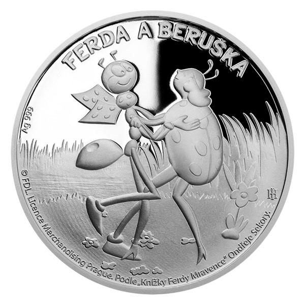 Stříbrná mince Ferda a Beruška proof