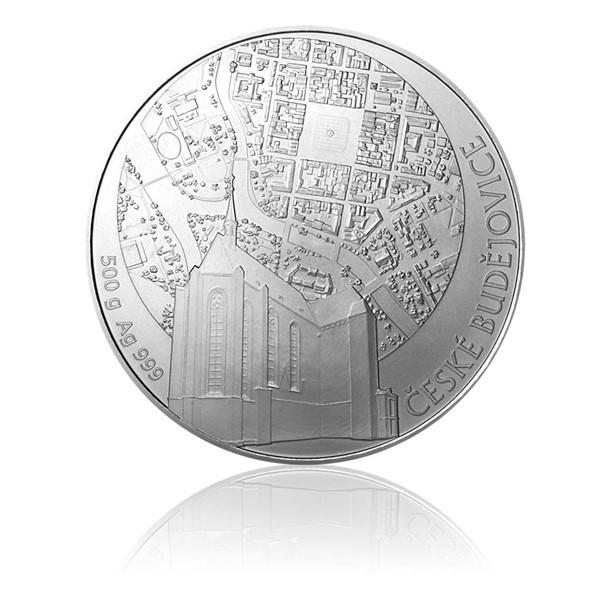 Stříbrná půlkilová investiční medaile Statutární město České Budějovice stand