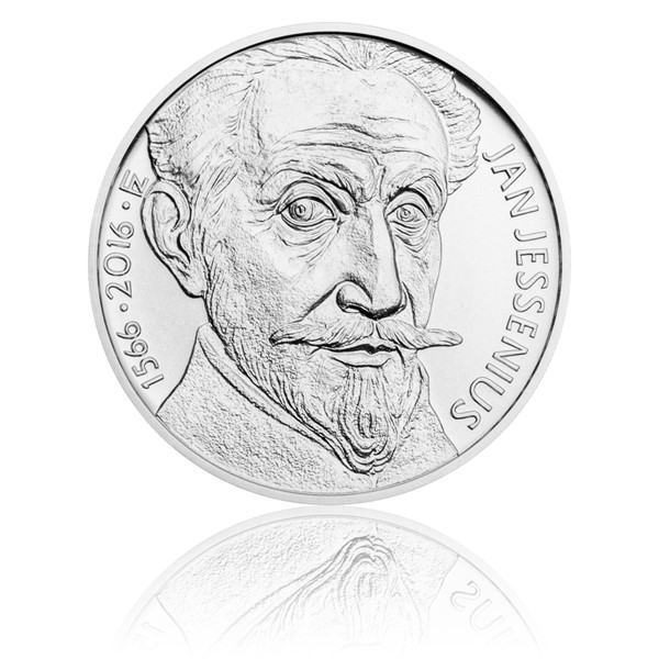 Stříbrná mince 200 Kč 2016 Jan Jessenius stand