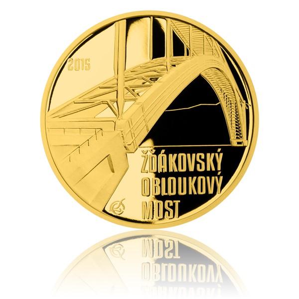 Zlatá mince 5000 Kč 2015 Žďákovský obloukový most proof
