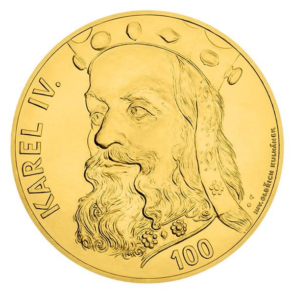 Zlatá kilogramová sběratelská medaile s motivem 100 Kč bankovky - Karel IV. stand