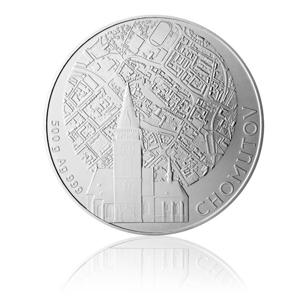 Stříbrná půlkilová investiční medaile Statutární město Chomutov stand