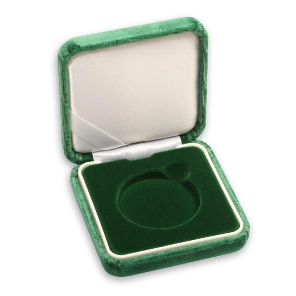 Sametová etue zelená 8x8 na průměr 44,38 mm