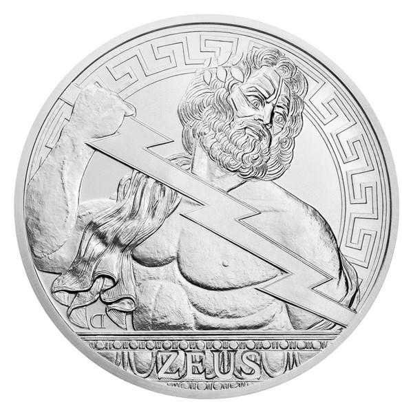 Stříbrná mince Bohové světa - Zeus stand