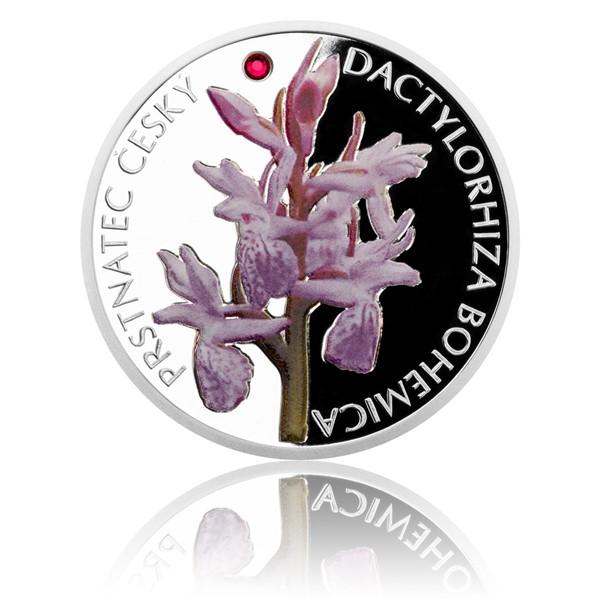 Stříbrná mince Ohrožená příroda - Prstnatec český proof