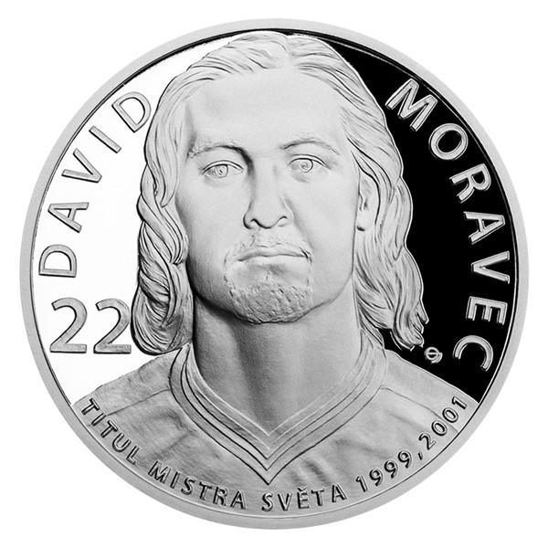 Stříbrná mince Legendy čs. hokeje - David Moravec proof