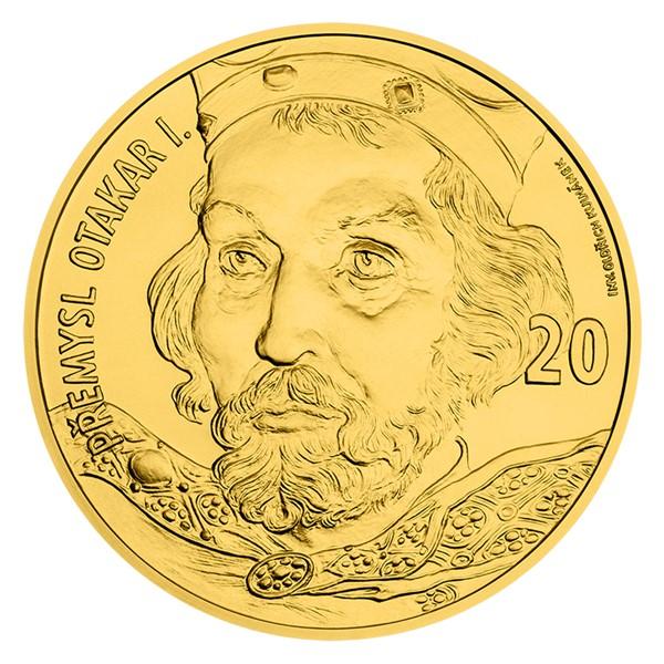 Zlatá kilogramová sběratelská medaile s motivem 20 Kč bankovky - Přemysl Otakar I. stand
