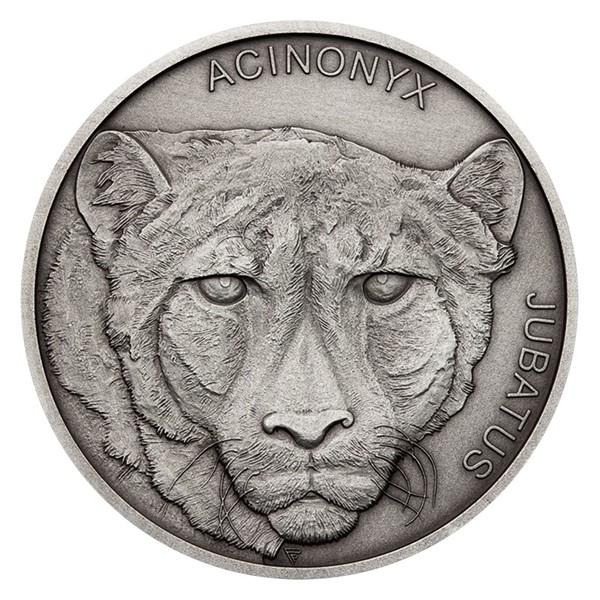 Stříbrná mince Zvířecí rekordmani - Gepard štíhlý stand
