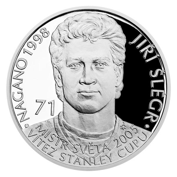 Stříbrná mince Legendy čs. hokeje - Jiří Šlégr proof