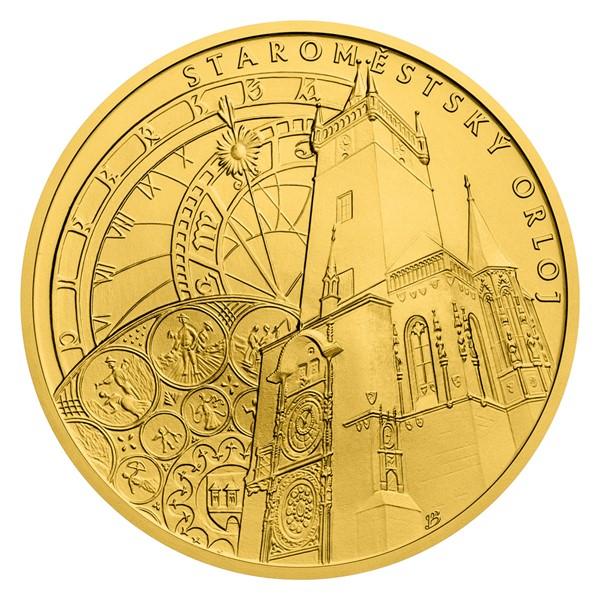 Zlatá investiční mince Staroměstský orloj stand
