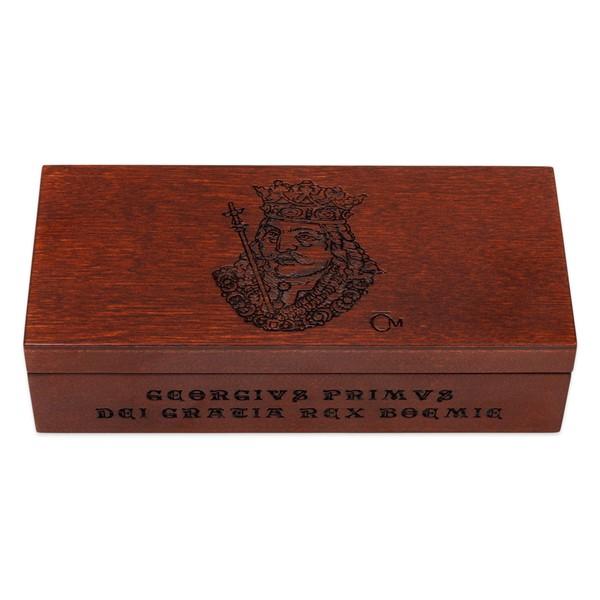 Sběratelská dřevěná etue na čtyři zlaté mince Doba Jiřího z Poděbrad