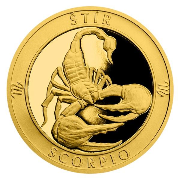 Zlatý dukát Znamení zvěrokruhu s věnováním - Štír proof