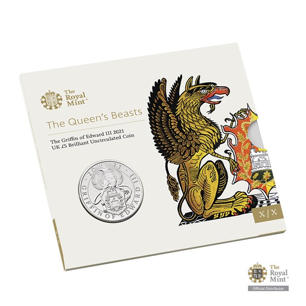 Pamětní mince Královnina heraldická zvířata – Gryf Eduarda III. UK 2021 brilliant